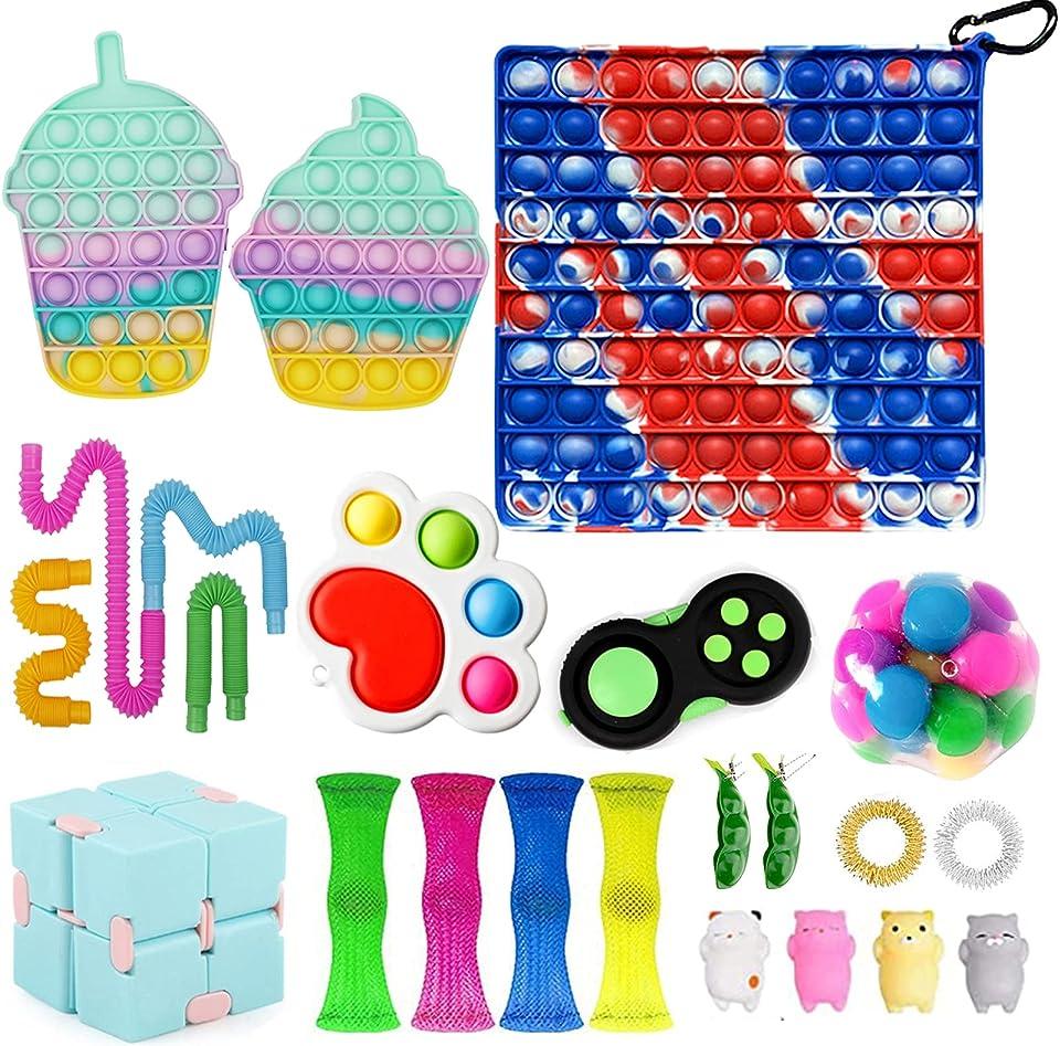 Fidget Toy Set, Big Fidget Toy Anti Stress Pop Bubble Sensory Fidget Toy with Pop Anxiety Tubes Fidget Spielzeug Set für Kinder