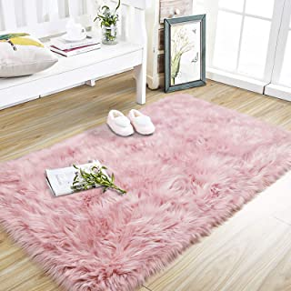 Foxmas Super Soft and Thick Faux Fur Sheepskin Fluffy Area Rug for Bedroom Living Plush Carpets Room Couch Kids Girls Luxu...