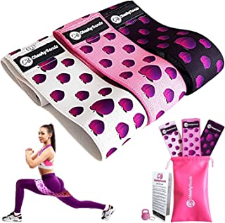 Cheeky Bands Exercise Resistance Band Set - 3pc Non-Slip Fabric Booty Bands for Glute, Yoga, Pilates Workouts - Material L...