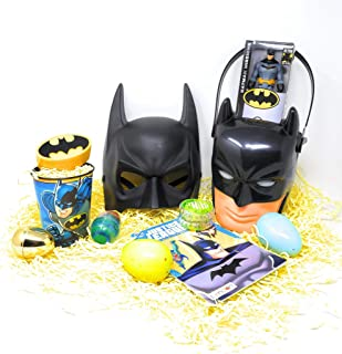JGT Kids Boy DIY Gift Set for Happy Easter Birthday Batman Basket Themed Stuffers Egg Eggs Toy Toys Gifts Goodies Activities Artificial Grass Decorations Party Favors Bow Bag Boys