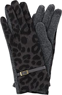 CTM Women's Leopard Print Touch Screen Glove