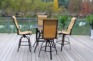 Pebble Lane Living All Weather Rust Proof Indoor/Outdoor 5 Piece Cast Aluminum Patio Bar Dining Set, 1 Slat Top Bar Dining Table & 4 Swivel Rocking Bar Stools with Padded Headrest, Brown/Cream