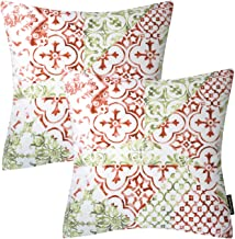 Phantoscope Living Series Set of 2 Red Throw Pillow Case Cushion Cover Classical Ornament 18 x 18 inch 45 x 45cm