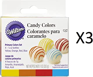 Wilton Bulk Buy Candy Colors 1/4 Ounce 4 pack Yellow/Orange/Red/Blue W1913-1299 (3-Pack)