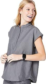 FIGS Rafaela Two-Pocket Mandarin Collar Medical Scrub Top for Women — Relaxed Fit, Super Soft Stretch