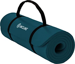 Incline Fit Extra Thick Exercise Mat w/ Carrying Strap - Non Slip & Comfortable Workout Mat  For Yoga, Pilates, Stretching, Meditation, Floor & Fitness Exercises