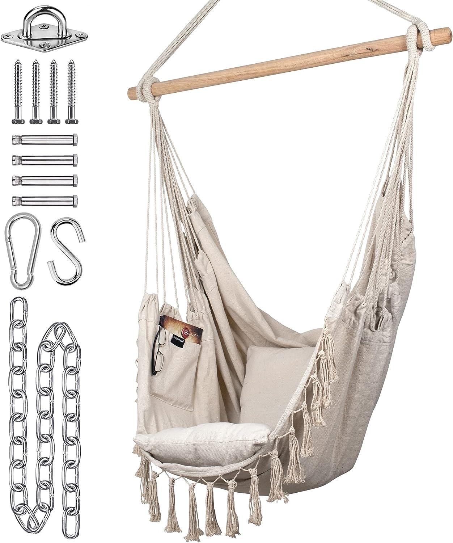 KOMOREBI Hammock Chair Hanging Rope Cash special price Outdoor Deluxe Swing for Indoor