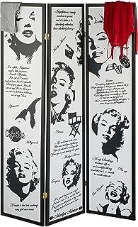 Relaxdays Marilyn Monroe - Biombo Plegable (179 x 132 cm, Madera y plástico), Color Negro y Blanco