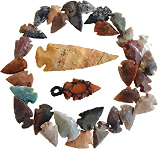 Arrowhead Lot, 32 pcs Indian Agate Stone Arrowhead Set by Ashkii