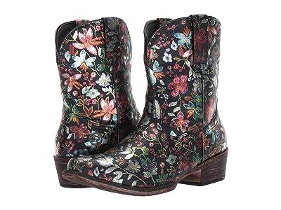 Roper Ingrid (Black Pebble Faux Leather/Snip Toe) Cowboy Boots