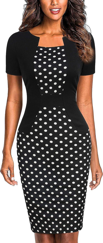 Mmondschein Women's Short Sleeve Colorblock Sheath Pencil Business Church Dress