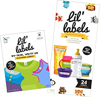 Lil' Labels Daycare Value Pack Write on Name Labels, Waterproof, Baby Bottle Labels..