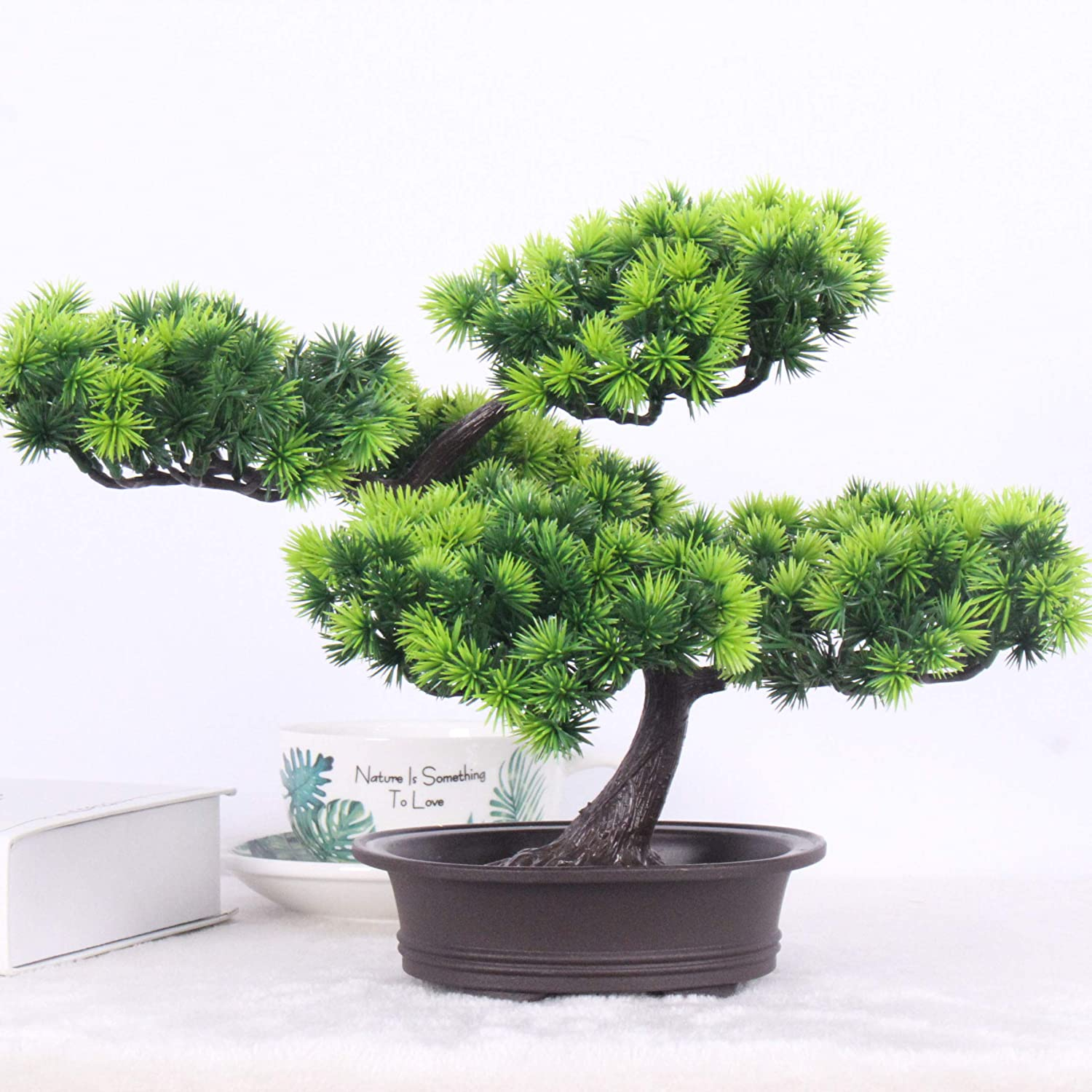 Amazon Com Simulated Welcome Pine Tree Artificial Welcoming Pine Bonsai Fake Potted Plant Ornament Potted Artificial Bonsai Tree Simulation Pine Plant Decoration Home Office Desktop Display Garden Decor 3 Home Kitchen