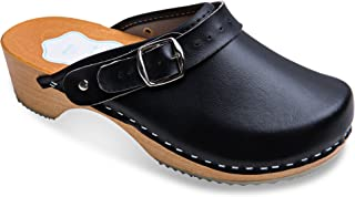 c4327e344ccdf FUTURO FASHION® Women's Healthy Natural Genuine Leather Wooden Sole Plain  Clogs Unisex Colours Sizes 3