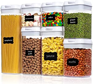 Airtight Food Storage Containers, 7 Pieces Set BPA Free Plastic Cereal Containers Kitchen and Pantry Organization Canisters with Durable Lids for Cereal Include Labels,marker