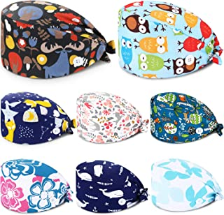 SATINIOR 8 Pieces Working Cap with Sweatband Tie Back Caps with Buttons Bouffant Turban Hat Colorful Printed Adjustable Ca...
