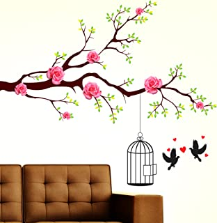 Amazon Brand - Solimo Wall Sticker for Living Room (Rose Flower Nest ), Ideal Size on Wall: 130 x 110 cm