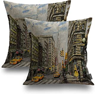 Shrahala Modern Decorative Pillow Covers, New York City Skyline in Black and White Decorative Linen Throw Pillow Covers 18...