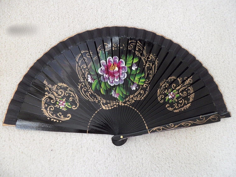 Black Wood Al sold out. Spanish Flamenco Vintage Folding In stock Hand Fan Wooden