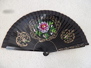 Black Wood Spanish Flamenco Vintage Wooden Folding Hand Fan Hand Painted