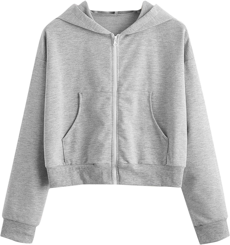 MakeMeChic Women's Solid Pocket Front Zip Up Long Sleeve Crop Top Hoodie Sweatshirts
