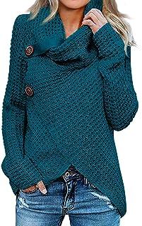 Holatee Jersey Mujer Jersey de Cuello Alto Sudaderas Mujer Invierno Pullover de Punto Jersey Dobladillo Asimétrico