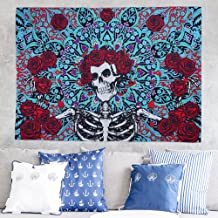 Fashion Sugar Skull Rose Tapestry Wall Hanging Mandala Wall Art Tapestries Bedspread Picnic Bedsheet Blanket Wall Art Hippie Tapestry (150cm x130cm)