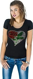 Fashion Women's t-Shirt with Hot-Fix Sequins, Slim Fit, Cute Sparkly Applique