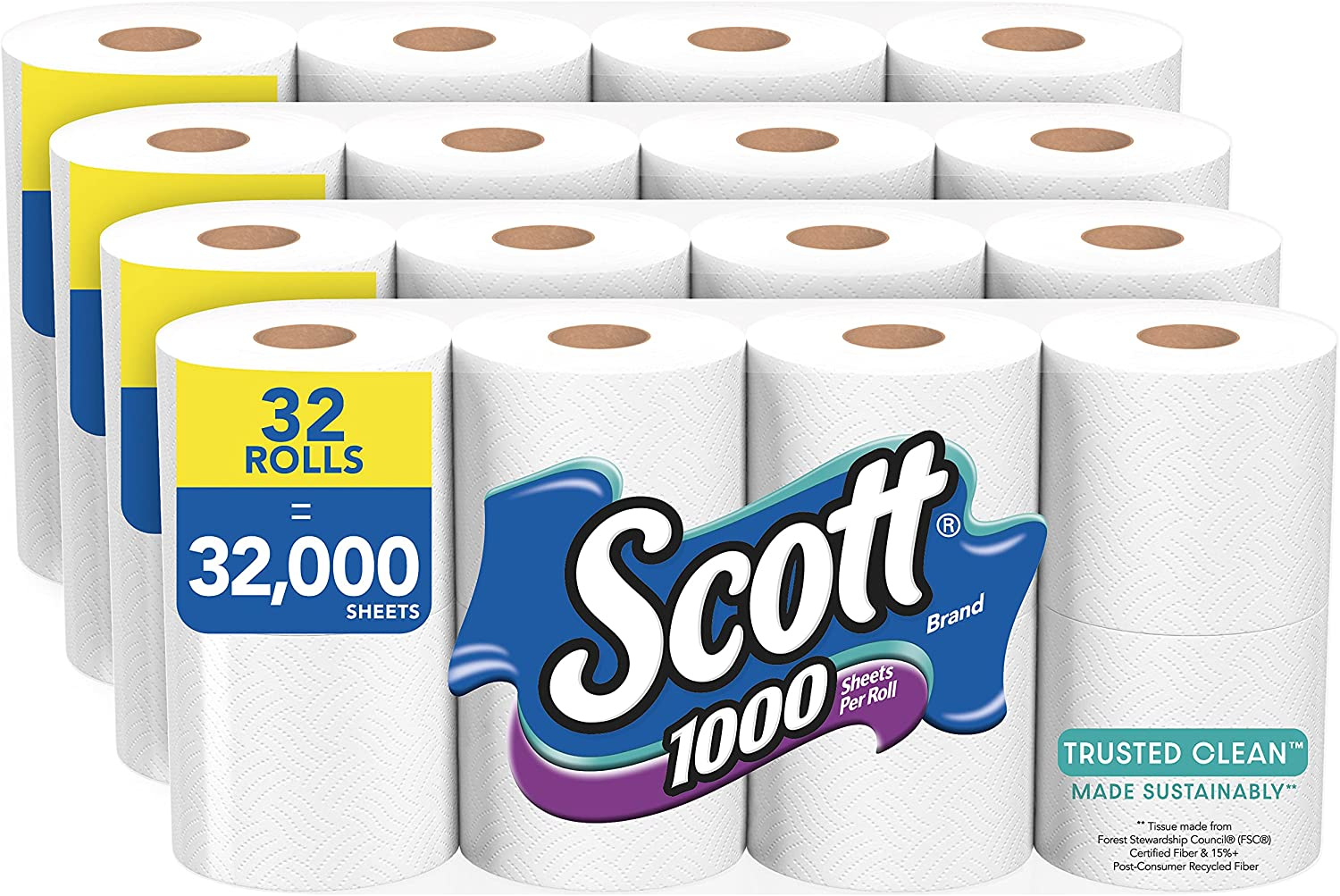 Scott 1000 Trusted Clean Toilet Paper, 32 Rolls (4 Packs of 8), 1,000 Sheets Per Roll, Septic-Safe, Bath Tissue Made Sustainably : Health & Household
