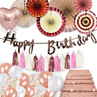 Birthday Decorations Rose Gold Party Supplies Set Shiny Happy Birthday Banner Foil Heart Balloons Hanging Fans Backdrop Sequin Table Runner Garland Tassels Baby Bridal Wedding Shower Bachelorette Kit