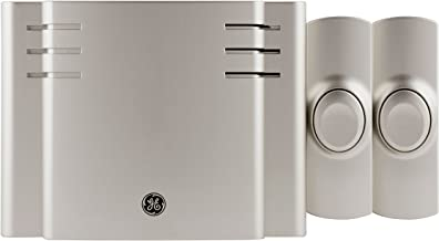 GE, Satin Nickel, Wireless Doorbell Kit, 8 Melodies, 1 Receiver, 2 Push Buttons, Battery-Operated, 150 Feet Range, 30393, 3