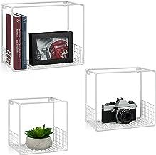 Relaxdays Wandrek in 3-delige set, voor de woonkamer, modern roosterdesign, Cube, hoekig wandboard, metaal, 15 cm diep, wi...