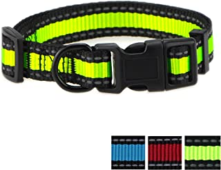 Mile High Life Dog Collar | Reflective 3M Stripe with Nylon Band | Red Blue Green Purple Pink