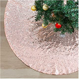 QueenDream Large 48 Inch Christmas Tree Skirt Rose Gold Hand Embroidery Tree Skirt with Sequin Fabric Holiday Collection Christmas Decorations