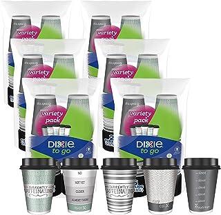 أكواب قهوة ورقية للمشروبات الساخنة بغطاء للاستعمال مرة واحدة من ديكسي تو جو، 12 اونصة، تصميمات متنوعة، 156 قطعة
