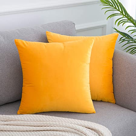 seat cushion yellow decorative pillow lemon yellow pillow handmade 16 x16 Yellow velvet pillow case