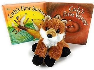 Cute Fox Plush and Book Bundle: Aurora 8 Fox Cub, Cubs First Summer and Cubs First Winter Books by Rebecca Elliott