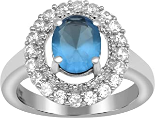 Shine Jewel Green /& White Natural Zircon Gemstone 925 Sterling Silver Cluster Halo Women Wedding Accent Ring