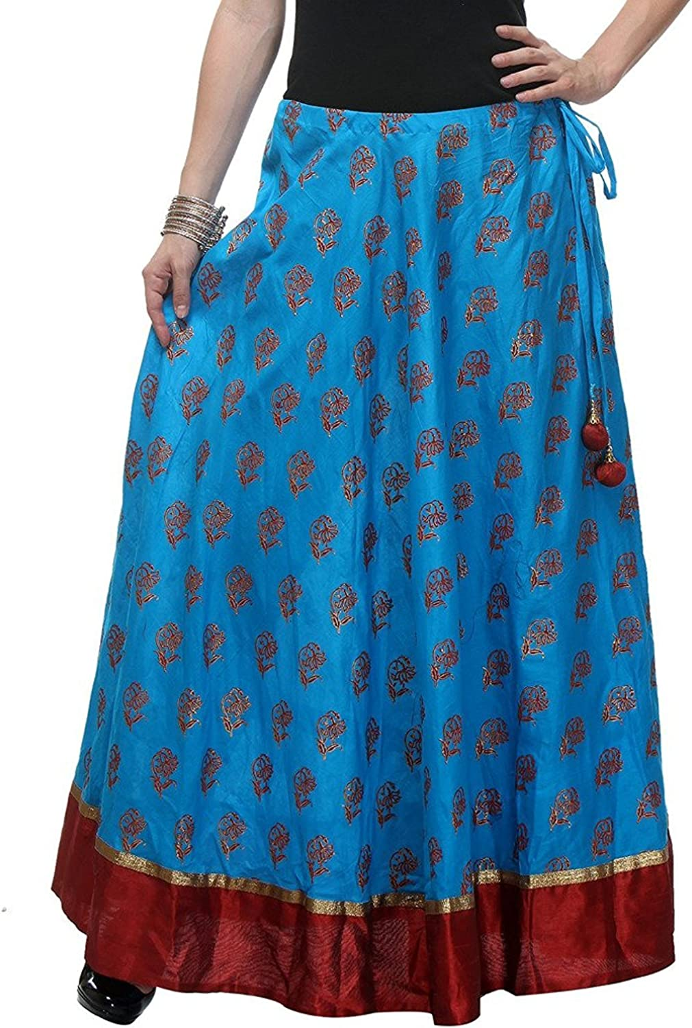 Indian Handicrfats Export Women's Cotton Hand Block Printed Long Skirt (Turquoise bluee_Freesize)