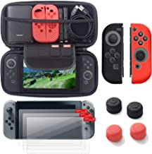 For Nintendo Switch 6 items Starter Kit with Travel Case by Insten Carrying Case EVA Hard Shell Cover + 3-pack Screen Protector + Joy-Con Controller Skin [Left BLACK/Right RED] + Thumb Grip Stick Cap