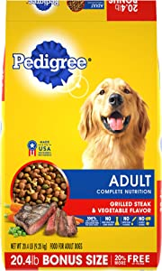 Pedigree Adult Dry Dog Food, Steak & Vegetable, All Bag Sizes