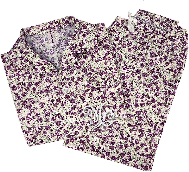 Classy Bride Mrs. Classic Bridal Pajama Set  Bouquet Toss purple