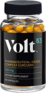 Volt03 Pharmaceutical-Grade Turmeric Curcumin Capsules | Curcumin Supplement with Anti-Aging Benefits | 60-Day Supply | Natural Anti-Inflammatory and Antioxidant | 500 mg