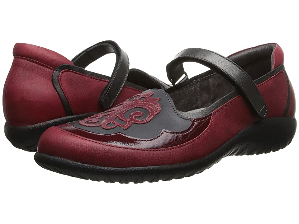 Naot Motu (Ruby Leather/Brushed Black Leather/Beet Red Patent Leather) Women