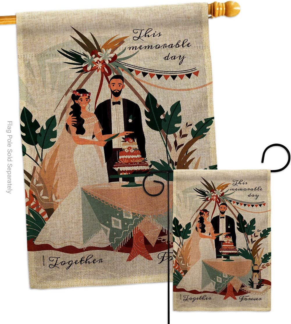 Anniversary Together Forever Burlap Direct Great interest store Garden Celeb Flags Set House