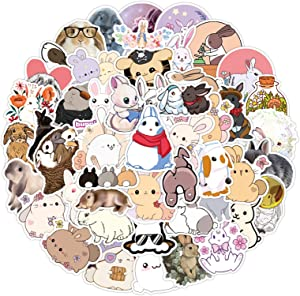 50Pcs Cute Lovely Rabbit Decal Stickers for Laptop and Water Bottles,Waterproof Durable Trendy Vinyl Laptop Decal Stickers Pack for Teens, Water Bottles, Computer, Travel Case (Lovely Rabbit)