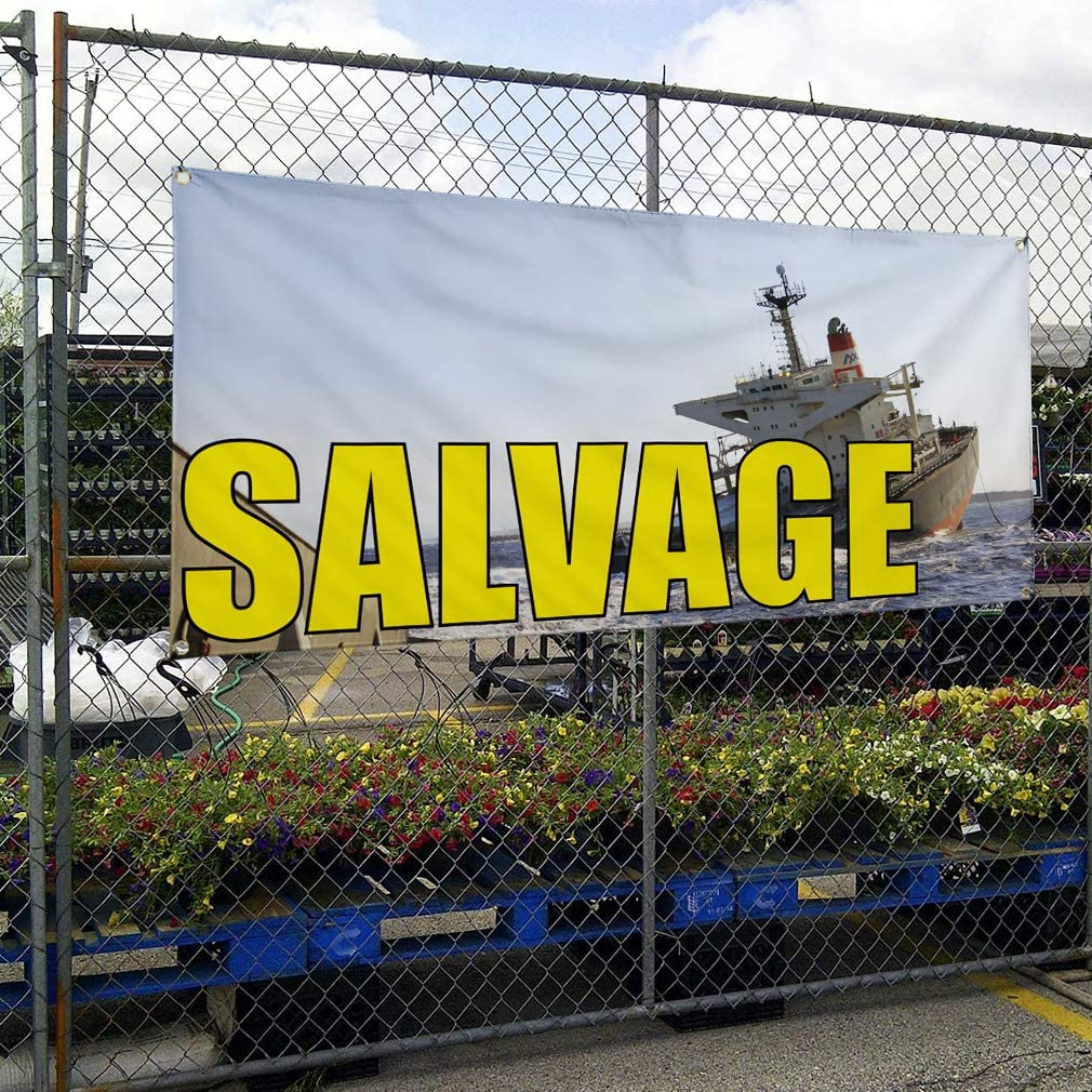 Vinyl Banner Multiple Sizes Salvage Outdoor Advertising Printing Business Outdoor Weatherproof Industrial Yard Signs Blue 10 Grommets 60x144Inches