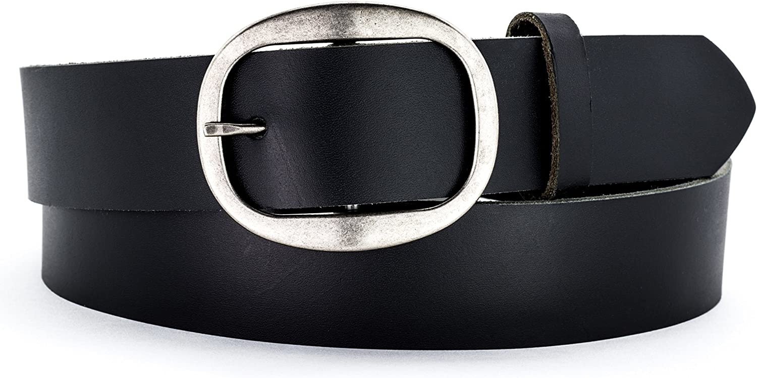 Naleeni Womens Black Large-scale sale Leather Belt Save money Oval Buckle with Nicke Antique