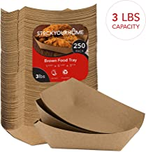 Paper Food Boats (250 Pack) Disposable Brown Tray - Eco Friendly Brown Paper Food Trays – Serving Boats for Concession Stand Food, 3 Lb