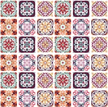 Home Decals Wall Tiles DIY Stickers Peel and Stick Backsplash for Kitchen/Bathroom in Moroccan Portuguese Mexican Talavera Design - Pack of 6